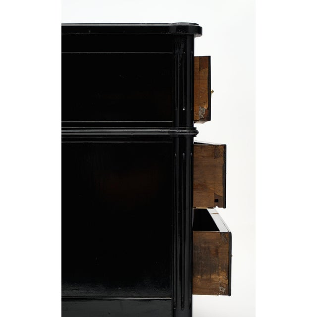 Metal Louis XVI Style Ebonized Chest of Drawers For Sale - Image 7 of 10