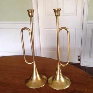 Vintage Tall Brass Bugle Candleholders - a Pair Preview