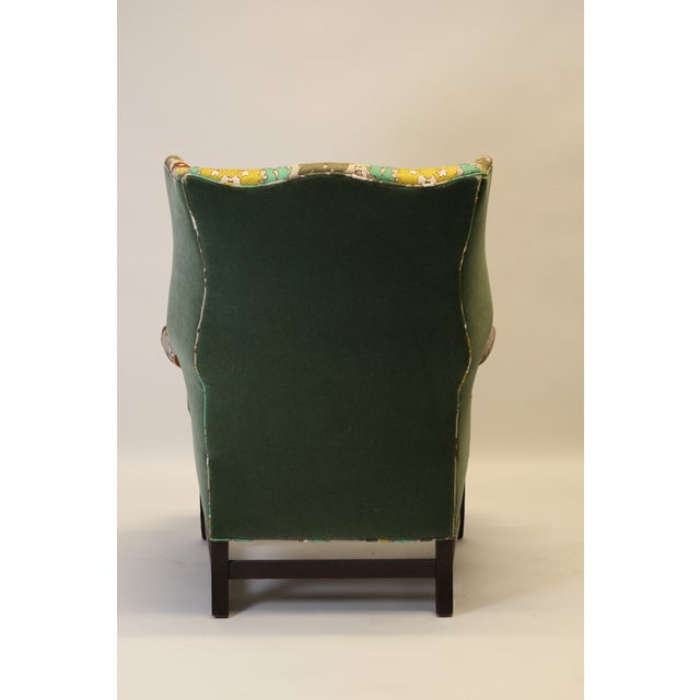 """English Georgian Style Wing Chair in Clarence House """"Suzani"""" Style Fabric For Sale - Image 4 of 10"""