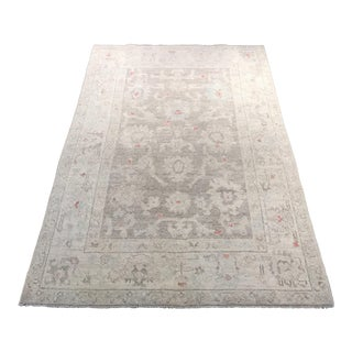 Contemporary Turkish Oushak Wool Rug - 3′10″ × 5′9″ For Sale