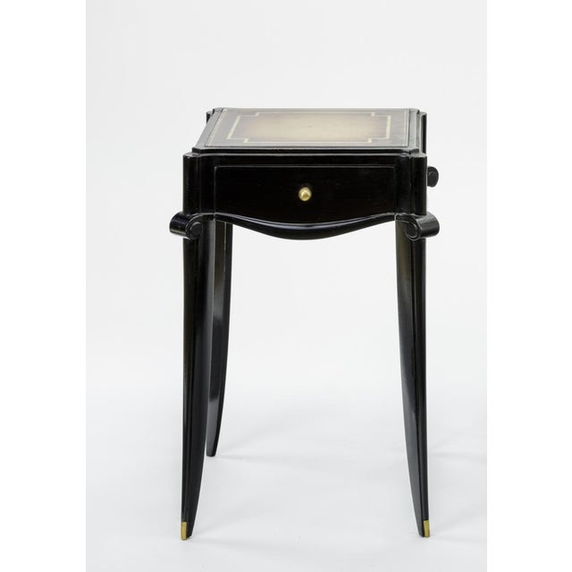 Mid-Century Modern Jean Pascaud Black Lacquered and Gold Sabot Bedside or Side Table For Sale - Image 3 of 6