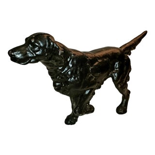 Vintage Cast Iron Black Setter Hunting Dog Doorstop For Sale