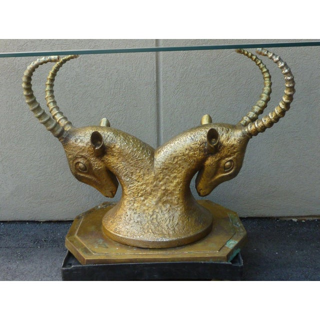 70's Bronze & Zinc Antelope Head Console Table Base For Sale - Image 4 of 12