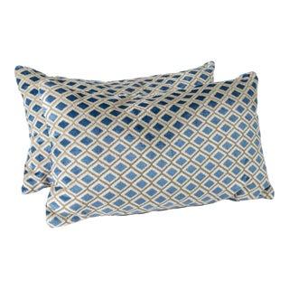 "20"" X 12"" Cut Velvet Diamond Pattern Pillows, Pair For Sale"