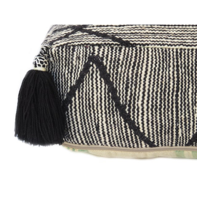 2000 - 2009 Black Beni Ourain Moroccan Wool Pouf For Sale - Image 5 of 9