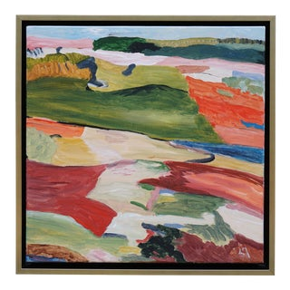 """""""Lofty Goal"""" Abstract Landscape Painting by Laurie MacMillan, Framed For Sale"""