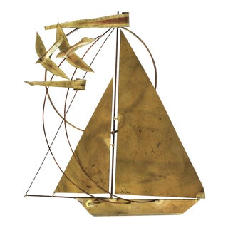 Brass Brutalist Sailboat Wall Decor For Sale