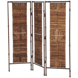Boho Chic Metal and Rattan Screen or Room Divider For Sale