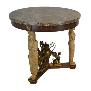 Maitland Smith Egyptian Revival Round Marble Top Empire Style Center Table For Sale