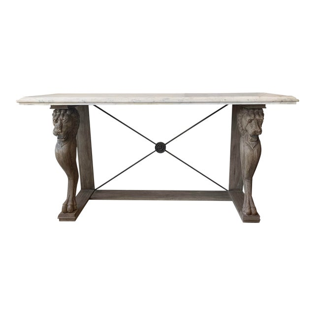 20th Century Neoclassical Style Marble Console Table For Sale