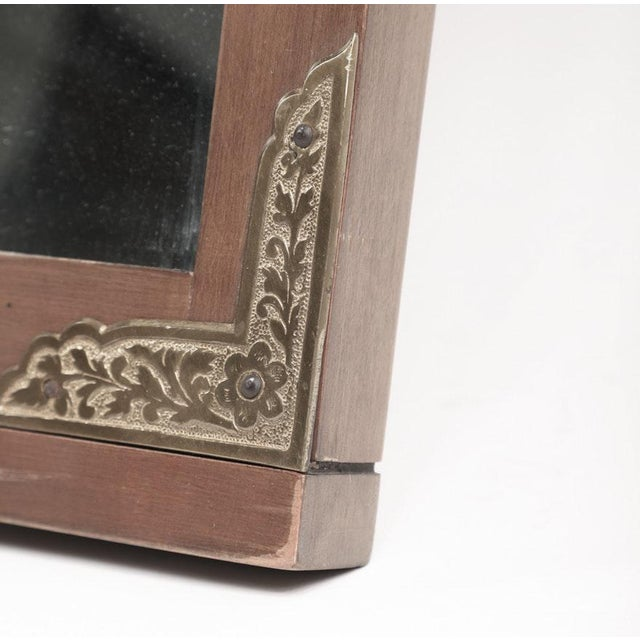 Arts & Crafts 1950s Arts and Crafts John Van Koert for Drexel Cherrywood Campaign Style Wall Mirror For Sale - Image 3 of 6