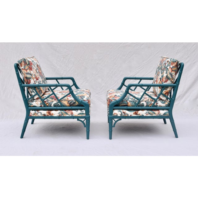 Wood Faux Bamboo Chinese Chippendale Lounge Chairs For Sale - Image 7 of 13