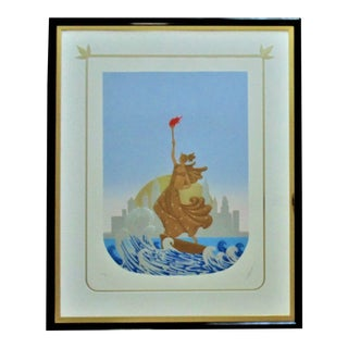 Late 20th Century Erte Statue of Liberty / New York Skyline Art Deco Inspired Serigraph For Sale