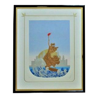 Signed Erte Serigraph Statue of Liberty / New York Skyline Art Deco For Sale