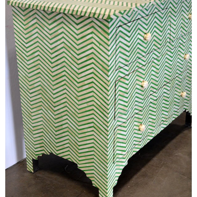 Boho Chic 4-Drawer Bone Inlay Chevron Pattern Chest of Drawers For Sale - Image 3 of 8