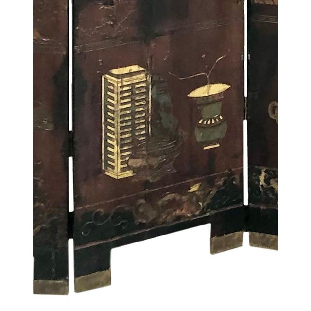 Early 19th Century Chinese Black Wooden Screen/Room Divider For Sale - Image 4 of 7
