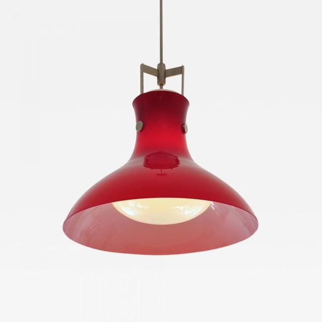 Studio Venini Red Pendant, Murano Italy 1950s For Sale In New York - Image 6 of 6