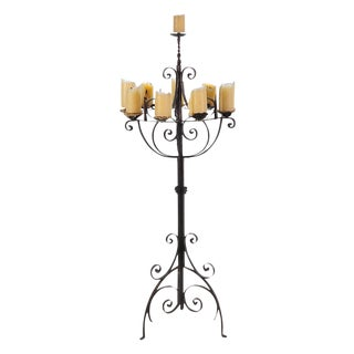Spanish Revival Wrought Iron 8 Arm Candle Holder For Sale