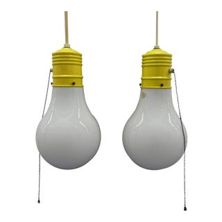 1960's v.v. France Giant Light Bulb Hanging Lamps - a Pair For Sale