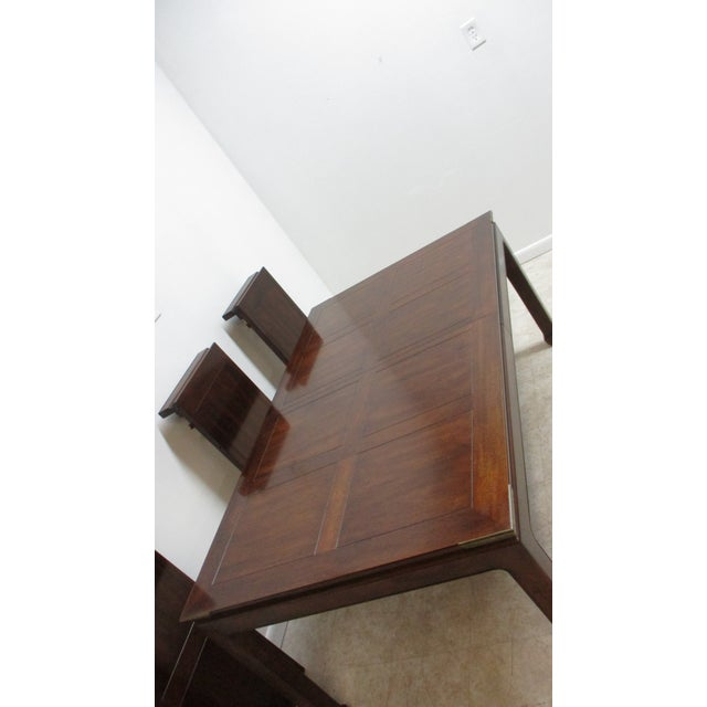 Brown Chippendale Henredon Pan Asian Dining Room Conference Table For Sale - Image 8 of 13