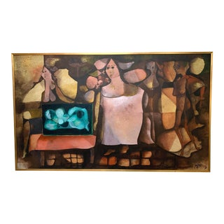 Abstract Figurative Oil by Uruguayan Artist Carlos Perez Franco For Sale