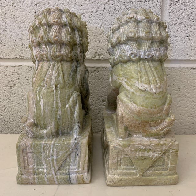 Green Stone Marble Foo Dogs Bookends - a Pair For Sale - Image 4 of 13