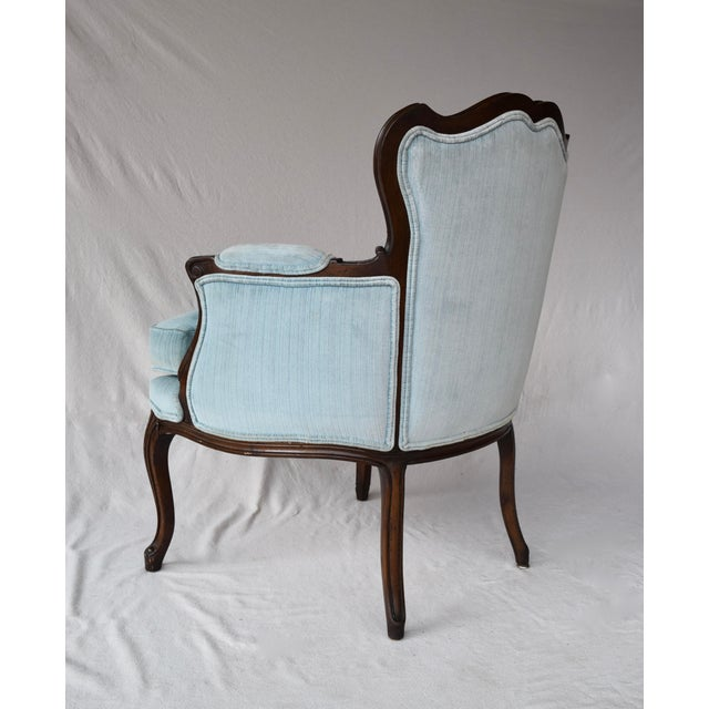 Blue Pair of French Provincial Berger'e Chairs For Sale - Image 8 of 12