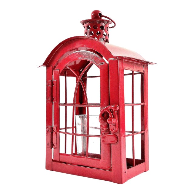 Red Metal Votive Candle Lantern For Sale