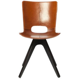 AKMD Leather Saddle Side Chair For Sale