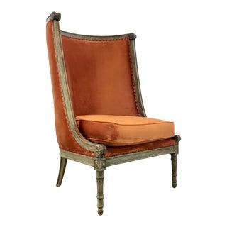 French Style Modern Orange Velvet High Back Lounge Chair For Sale