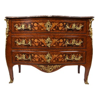 Late 19th Century Louis XV-style Marquetry Chest of Drawers For Sale
