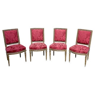 19th Century Antique Louis XVI-Style Damask Chairs- Set of 4 For Sale