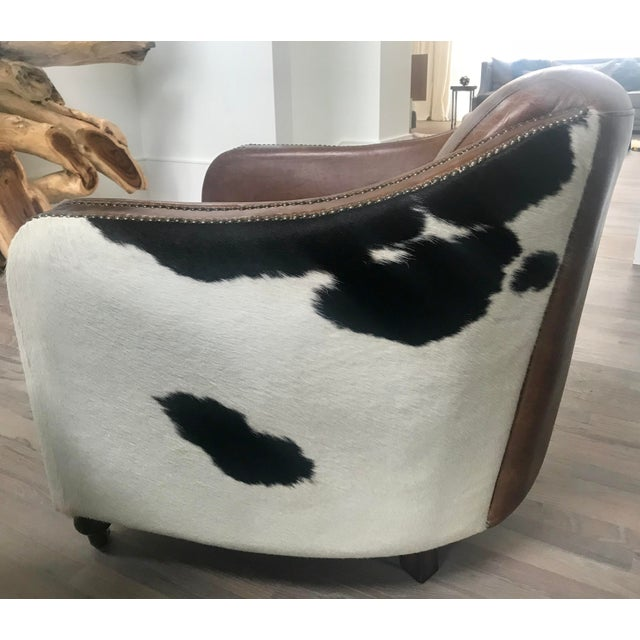 Brown Regina Andrew Leather Cowhide Club Chair For Sale - Image 8 of 11