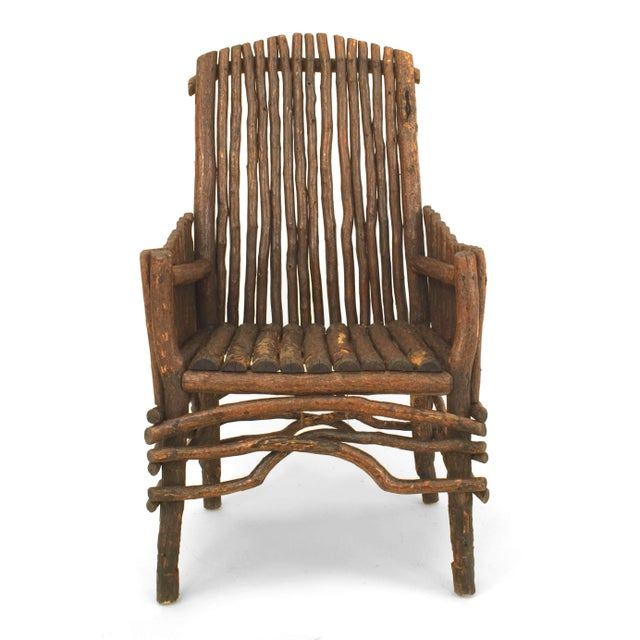 Mid 20th Century Rustic Adirondack Twig Arm Chair For Sale - Image 5 of 5