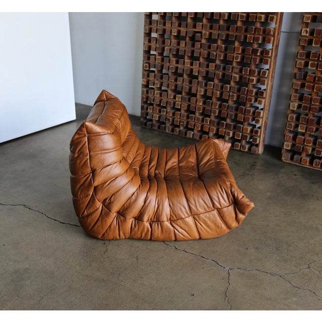 """Michel Ducaroy for Ligne Roset """"Togo"""" Leather Lounge Chairs - a Pair For Sale - Image 10 of 13"""