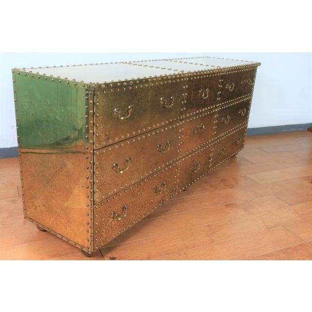 Sarreid Ltd. Vintage Brass Cabinet Styled After Sarreid Ltd For Sale - Image 4 of 5