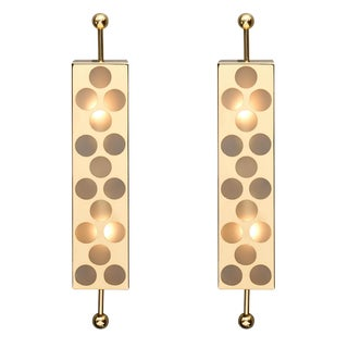 Perforated Brass and Frosted Murano Glass Sconces For Sale
