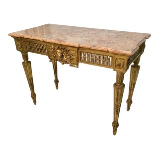 18th Century French Louis XVI Period Marble Top Gilt Console Table For Sale
