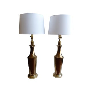 Golden Glazed Ceramic Lamps - A Pair For Sale