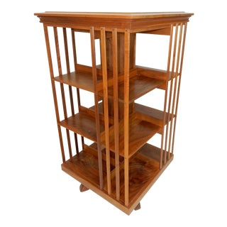 Large Danner Style Solid Cherry Wood Revolving Bookcase. 45 Inches For Sale