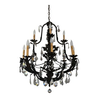 Charming French Mediterranean Black Iron and Crystal 12 Arm Chandelier For Sale