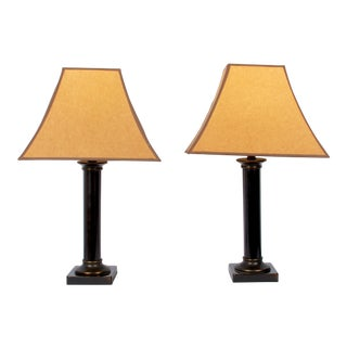 Faux Patinated Bronze Table Lamps - A Pair