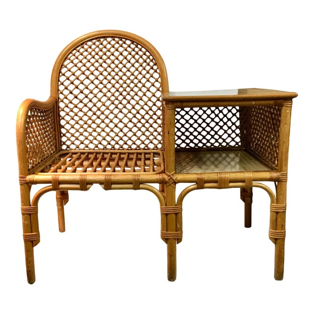 Wicker and Bamboo Chair & Table For Sale