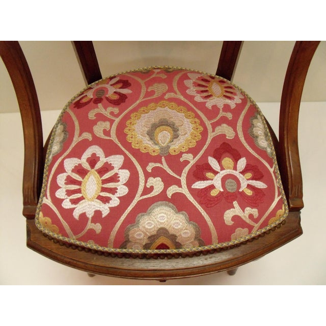 Lovely little desk/occasional chair. In very good condition. Recently upholstered in a beautiful fabric by Manuel Canovas....