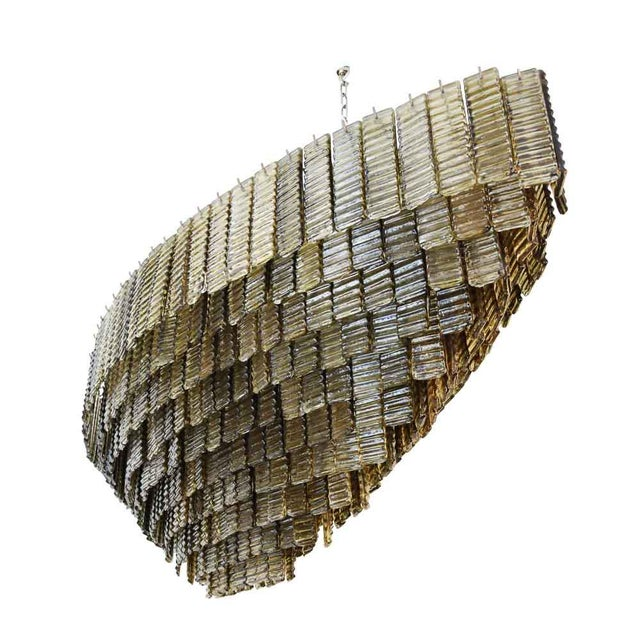 An Outstanding Bespoke Large Murano Piastre Chandelier For Sale - Image 6 of 7