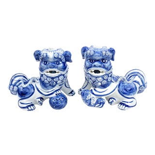 Large Pair Blue & White Porcelain Foo Dog Statues   Antique Guardian Shishi Lions   Male Female Feng Shui Protection Figurines For Sale