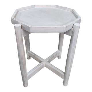 White Washed Wood Octagonal Accent Table For Sale