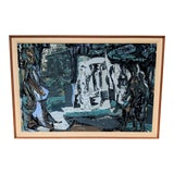 Image of Vintage Mid Century Modern Blue Abstract Painting, Framed Canvas Print For Sale