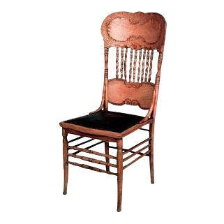 Set of 4 American Victorian stripped oak side chairs with spindle and pressed design back with black leather seat(priced each) For Sale