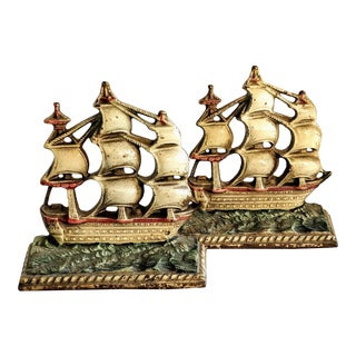 Vintage Cast Iron Ship Painted Bookends-A Pair For Sale
